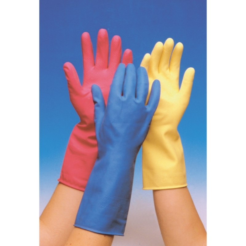 Medium weight flock lined natural rubber gloves with a rolled cuff. They have a non-slip pattern on