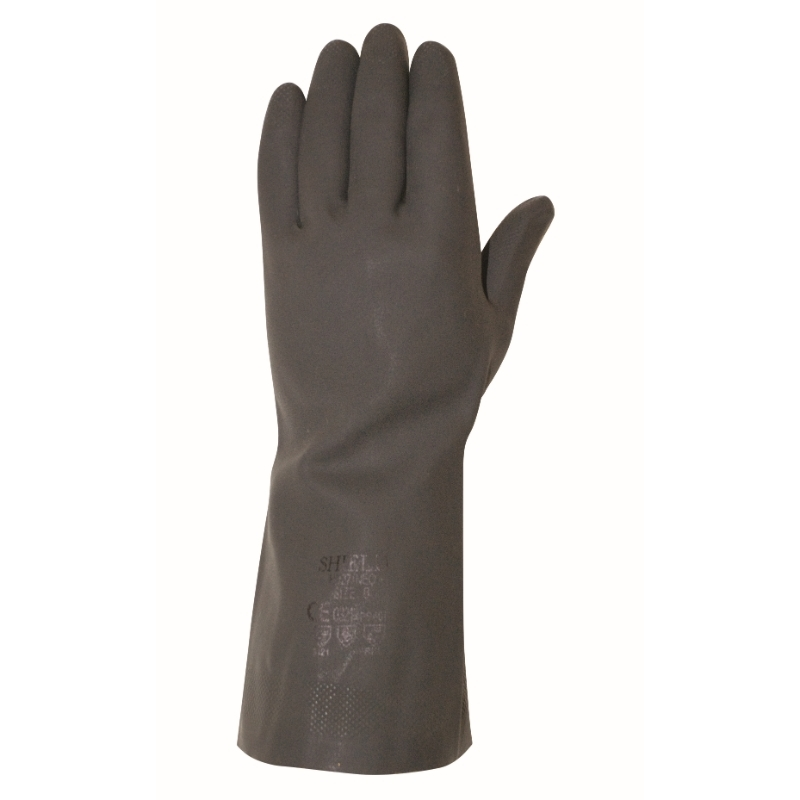 Heavy weight Black Rubber Gloves, Large