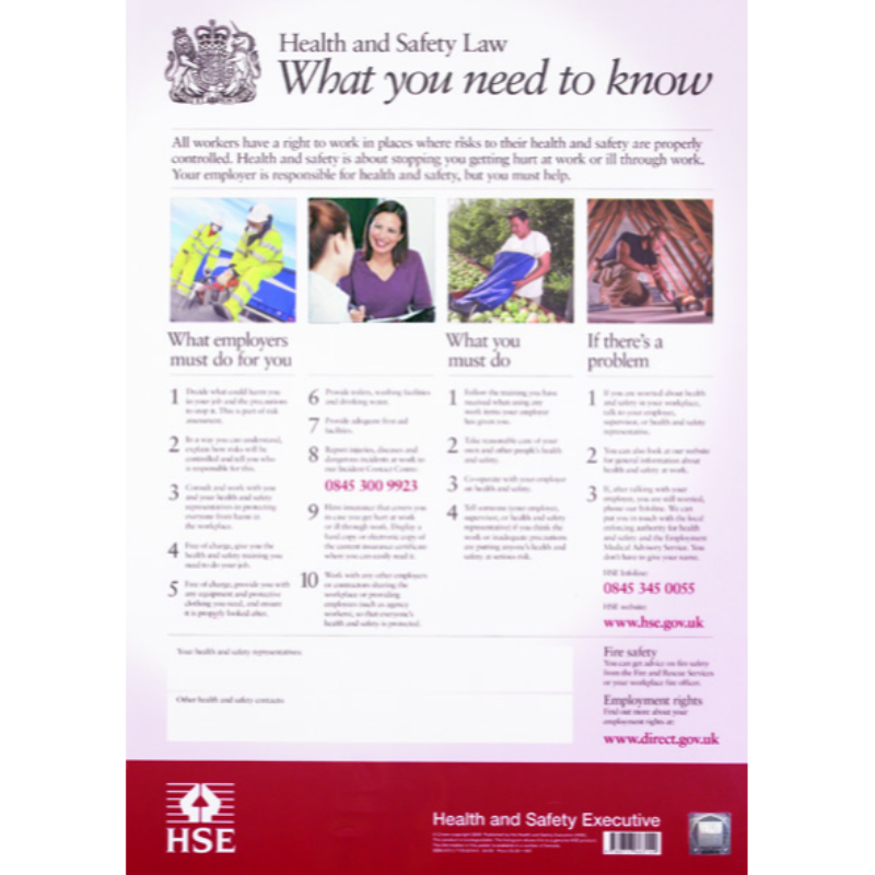 Health & Safety Law Poster 595 x 415 Rigid