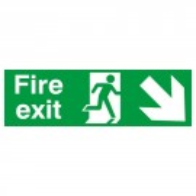 Fire Exit with Arrow Down and right