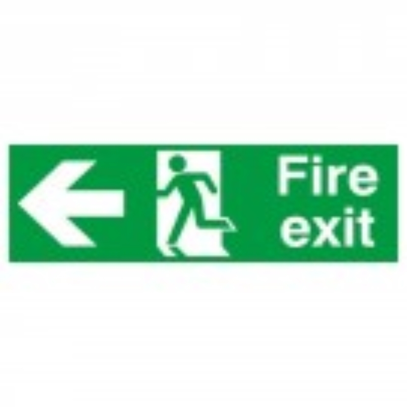 Fire Exit with running man and arrow left 150x450 S/A