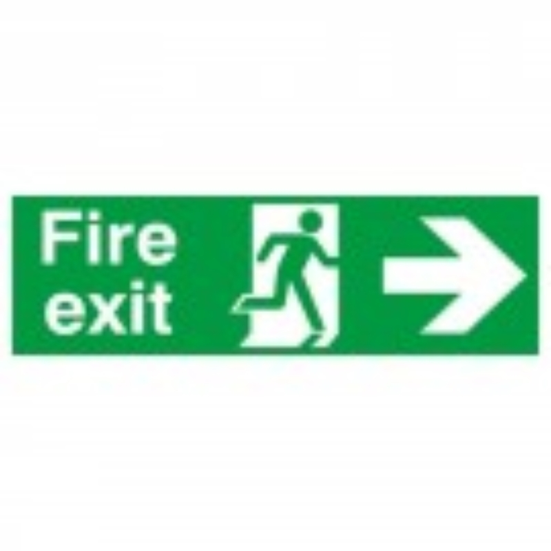 Fire Exit with running man and arrow right 150x450 S/A