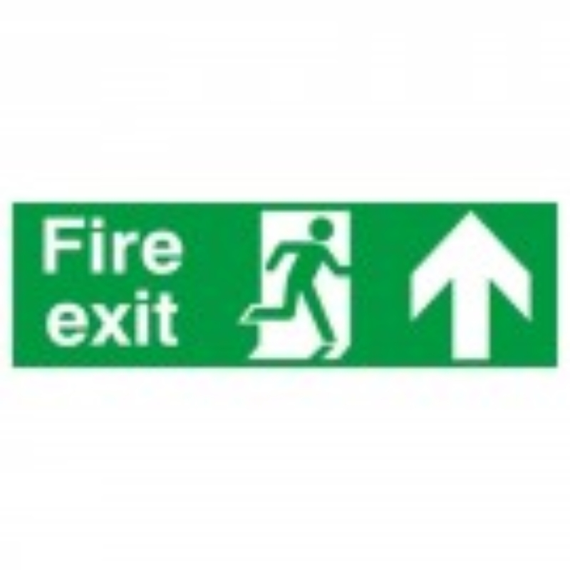Fire Exit with running man and arrow up 150x450 S/A