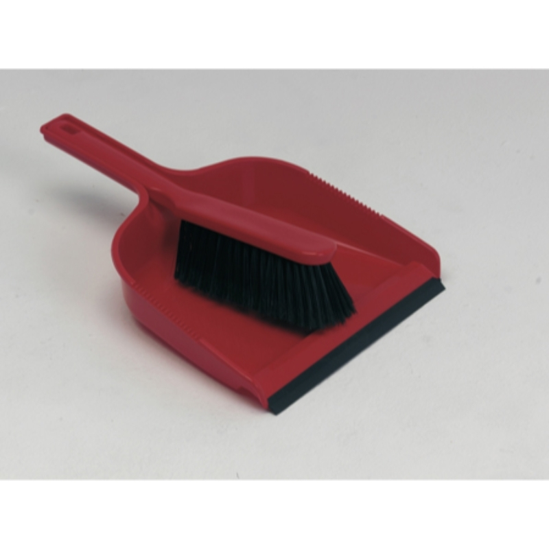 Dust Pan & Brush Set, Soft, Red