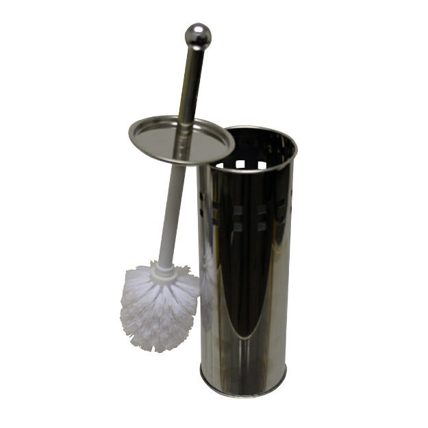 Polished Stainless Steel Toilet Brush with holder